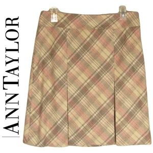 Ann Taylor Mini Skirt 6 Wool Pink Brown Ivory